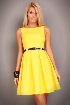 Желтое прямое короткое атласное платье