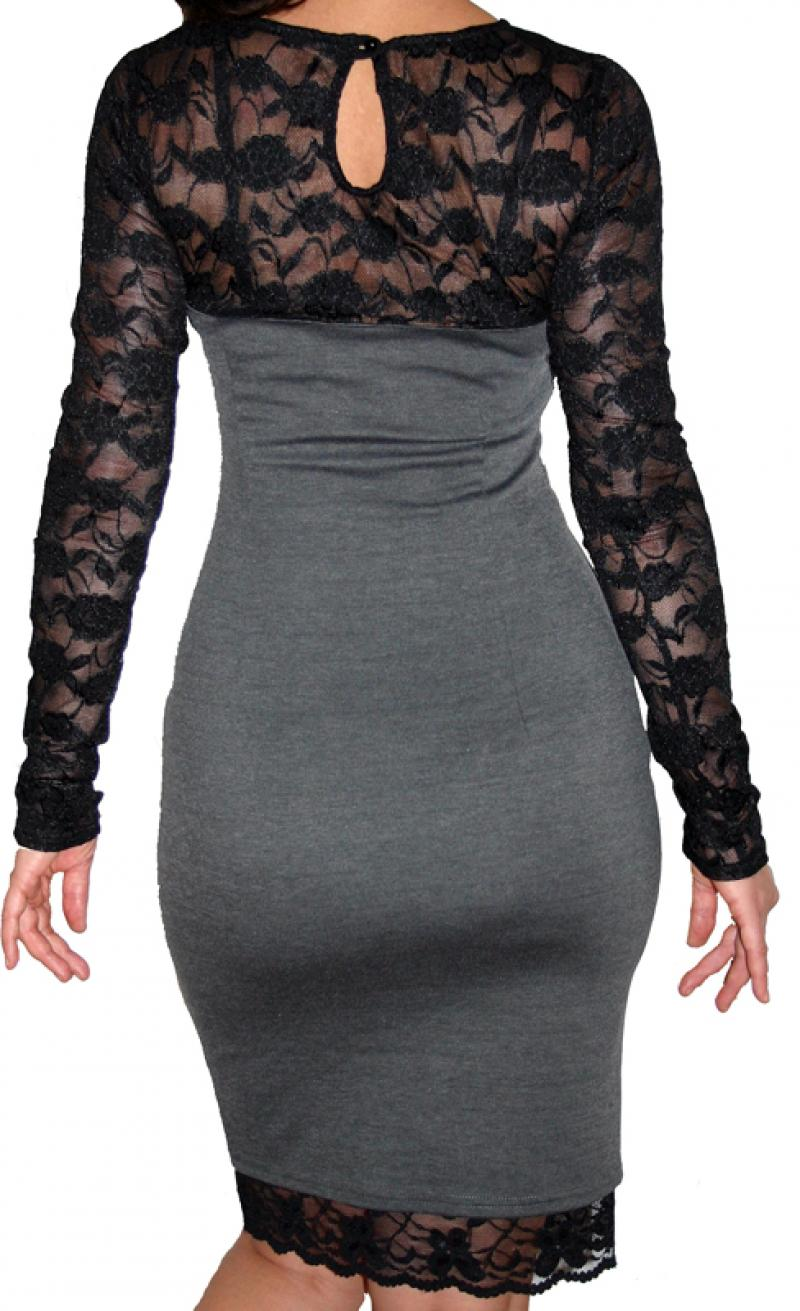 Серые платья с черным кружевом